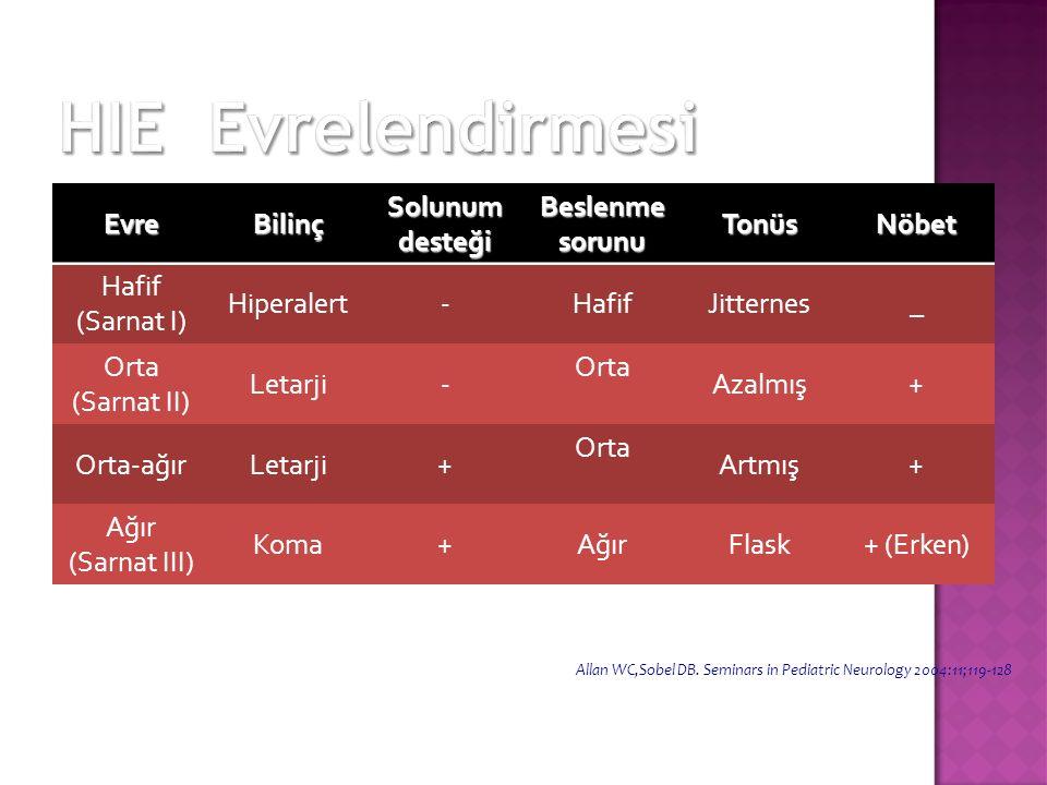 EvreBilinç Solunum desteği Beslenme sorunu TonüsNöbet Hafif (Sarnat I) Hiperalert-HafifJitternes_ Orta (Sarnat II) Letarji- Orta Azalmış+ Orta-ağırLet