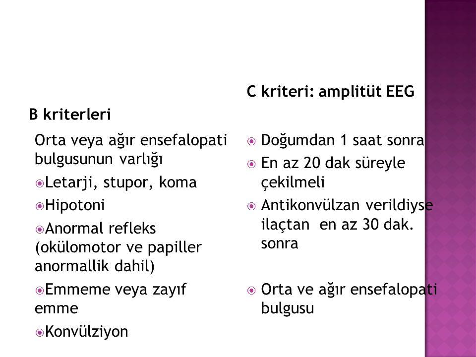 B kriterleri Orta veya ağır ensefalopati bulgusunun varlığı  Letarji, stupor, koma  Hipotoni  Anormal refleks (okülomotor ve papiller anormallik da