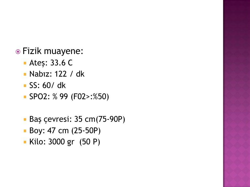  Fizik muayene:  Ateş: 33.6 C  Nabız: 122 / dk  SS: 60/ dk  SPO2: % 99 (F02>:%50)  Baş çevresi: 35 cm(75-90P)  Boy: 47 cm (25-50P)  Kilo: 3000