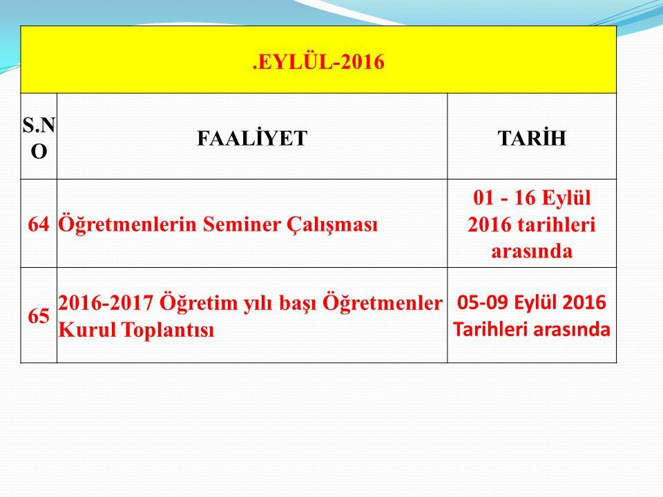 .EYLÜL-2016 S.N O FAALİYETTARİH 64Öğretmenlerin Seminer Çalışması 01 - 16 Eylül 2016 tarihleri arasında 65 2016-2017 Öğretim yılı başı Öğretmenler Kurul Toplantısı 05-09 Eylül 2016 Tarihleri arasında