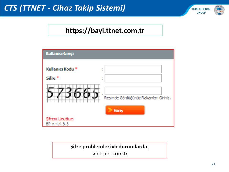 , TÜRK TELEKOM GROUP 21 CTS (TTNET - Cihaz Takip Sistemi) https://bayi.ttnet.com.tr Şifre problemleri vb durumlarda; sm.ttnet.com.tr