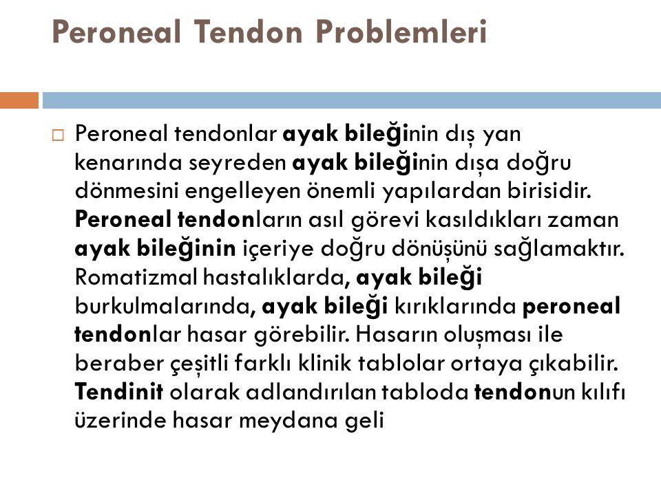 Peroneal Tendon Problemleri  Peroneal tendonlar ayak bile ğ inin dış yan kenarında seyreden ayak bile ğ inin dışa do ğ ru dönmesini engelleyen önemli