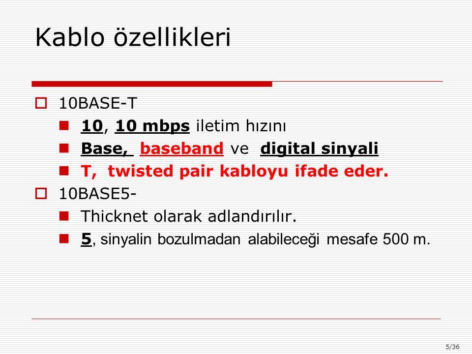 5/36 Kablo özellikleri  10BASE-T 10, 10 mbps iletim hızını Base, baseband ve digital sinyali T, twisted pair kabloyu ifade eder.