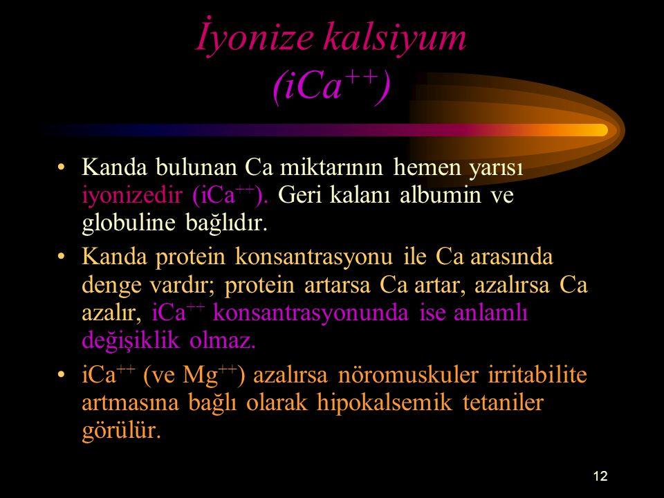 12 İyonize kalsiyum (iCa ++ ) Kanda bulunan Ca miktarının hemen yarısı iyonizedir (iCa ++ ). Geri kalanı albumin ve globuline bağlıdır. Kanda protein