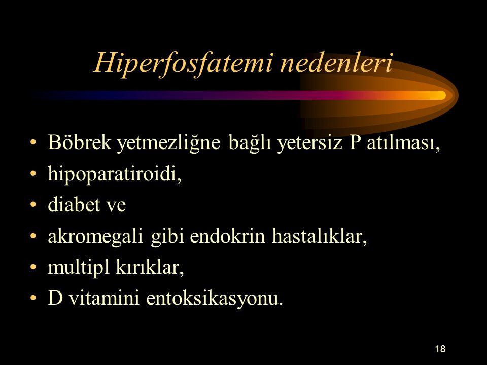 18 Hiperfosfatemi nedenleri Böbrek yetmezliğne bağlı yetersiz P atılması, hipoparatiroidi, diabet ve akromegali gibi endokrin hastalıklar, multipl kır