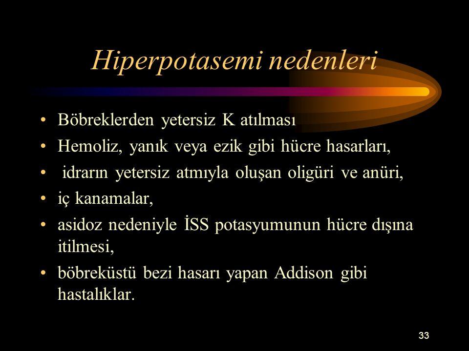 33 Hiperpotasemi nedenleri Böbreklerden yetersiz K atılması Hemoliz, yanık veya ezik gibi hücre hasarları, idrarın yetersiz atmıyla oluşan oligüri ve
