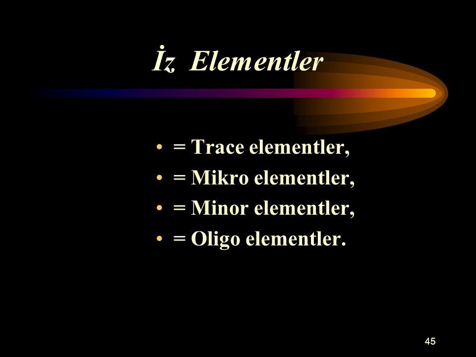45 İz Elementler = Trace elementler, = Mikro elementler, = Minor elementler, = Oligo elementler.