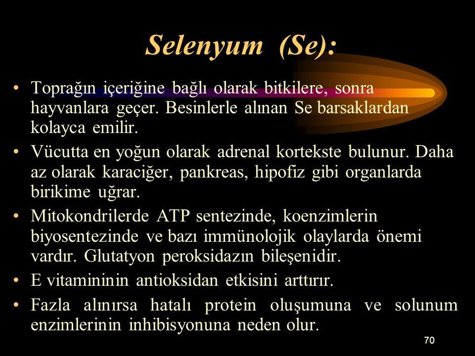 70 Selenyum (Se): Toprağın içeriğine bağlı olarak bitkilere, sonra hayvanlara geçer. Besinlerle alınan Se barsaklardan kolayca emilir. Vücutta en yoğu