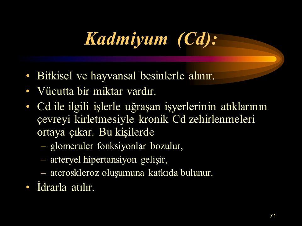 71 Kadmiyum (Cd): Bitkisel ve hayvansal besinlerle alınır. Vücutta bir miktar vardır. Cd ile ilgili işlerle uğraşan işyerlerinin atıklarının çevreyi k