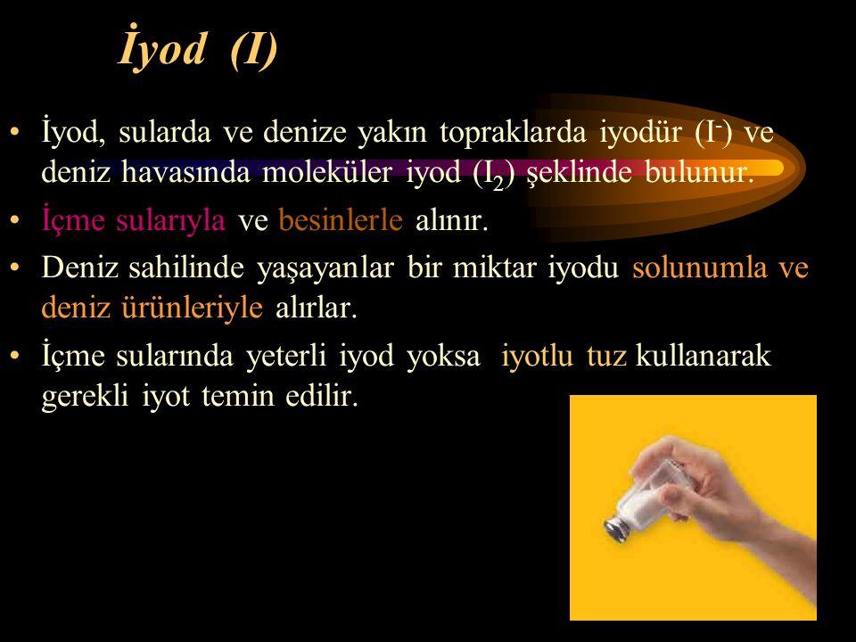 74 İyod (I) İyod, sularda ve denize yakın topraklarda iyodür (I - ) ve deniz havasında moleküler iyod (I 2 ) şeklinde bulunur. İçme sularıyla ve besin