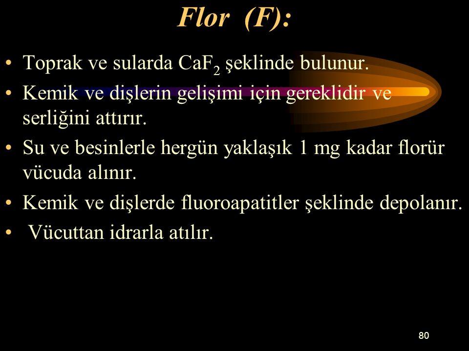 80 Flor (F): Toprak ve sularda CaF 2 şeklinde bulunur. Kemik ve dişlerin gelişimi için gereklidir ve serliğini attırır. Su ve besinlerle hergün yaklaş