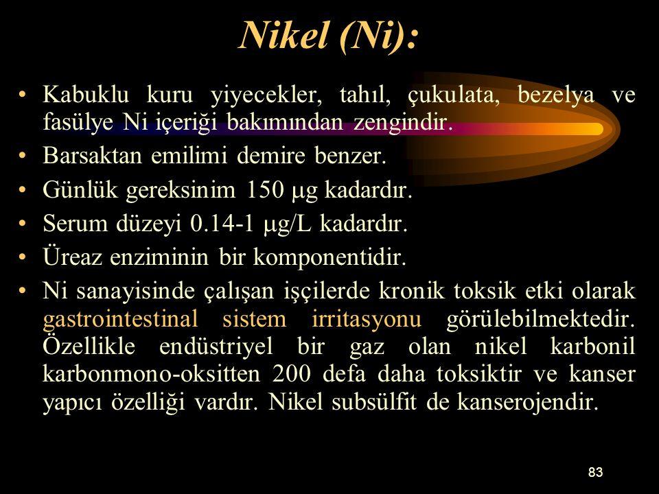 83 Nikel (Ni): Kabuklu kuru yiyecekler, tahıl, çukulata, bezelya ve fasülye Ni içeriği bakımından zengindir. Barsaktan emilimi demire benzer. Günlük g