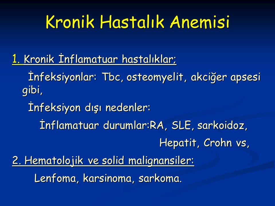 1. Kronik İnflamatuar hastalıklar; İnfeksiyonlar: Tbc, osteomyelit, akciğer apsesi gibi, İnfeksiyonlar: Tbc, osteomyelit, akciğer apsesi gibi, İnfeksi