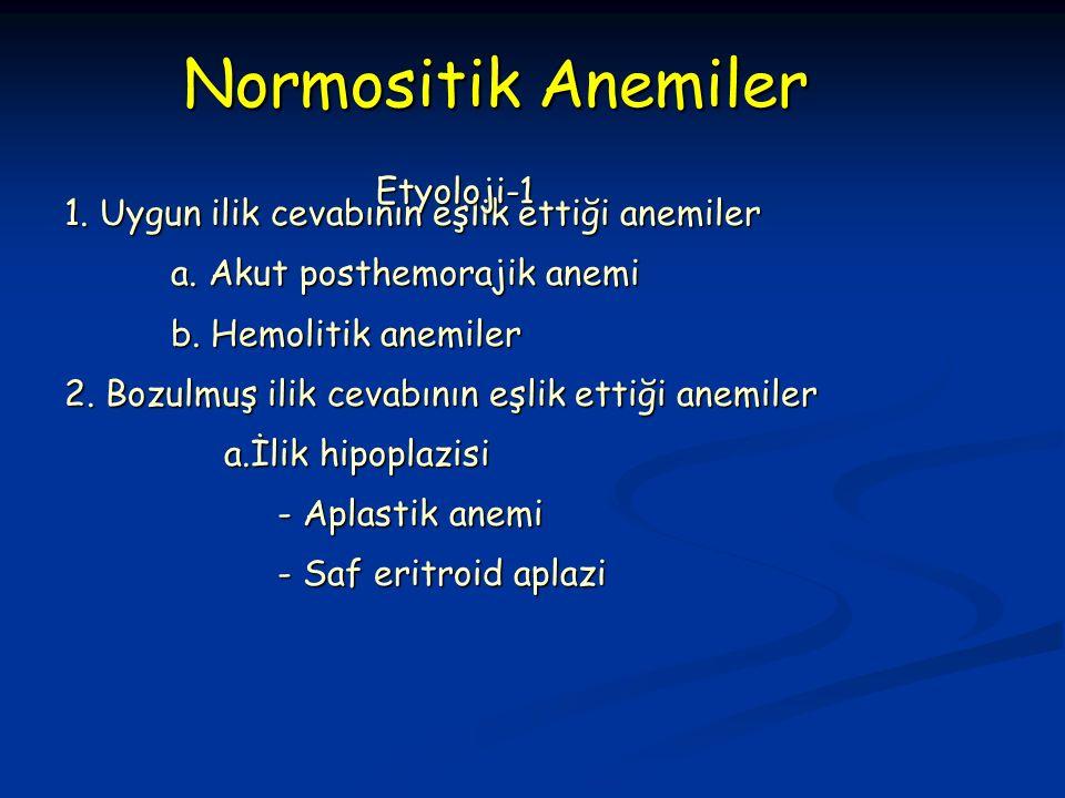 1. Uygun ilik cevabının eşlik ettiği anemiler a. Akut posthemorajik anemi b.