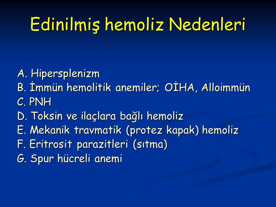 Edinilmiş hemoliz Nedenleri A. Hipersplenizm B. İmmün hemolitik anemiler; OİHA, Alloimmün C.