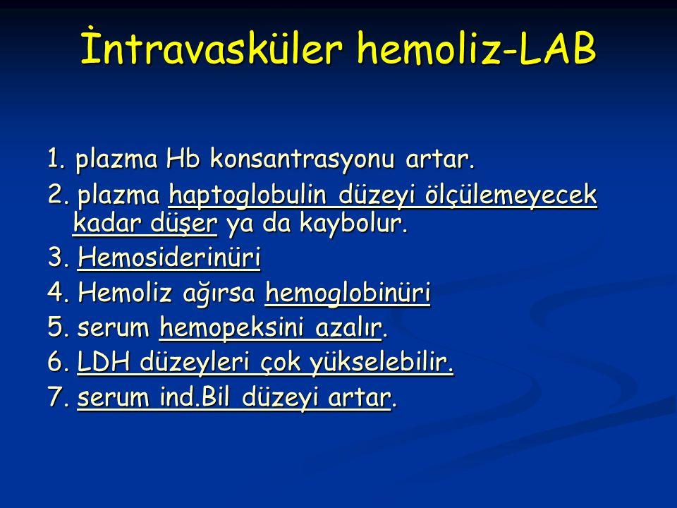 İntravasküler hemoliz-LAB 1. plazma Hb konsantrasyonu artar.