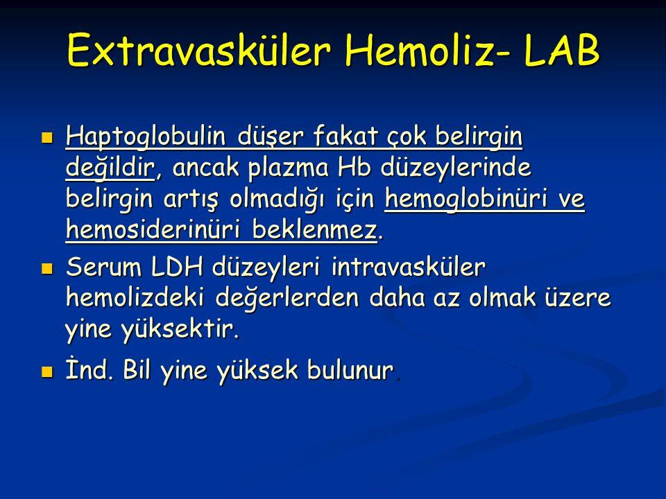 Extravasküler Hemoliz- LAB Haptoglobulin düşer fakat çok belirgin değildir, ancak plazma Hb düzeylerinde belirgin artış olmadığı için hemoglobinüri ve hemosiderinüri beklenmez.