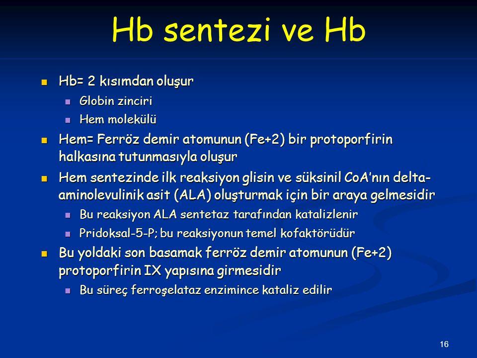 16 Hb sentezi ve Hb Hb= 2 kısımdan oluşur Hb= 2 kısımdan oluşur Globin zinciri Globin zinciri Hem molekülü Hem molekülü Hem= Ferröz demir atomunun (Fe+2) bir protoporfirin halkasına tutunmasıyla oluşur Hem= Ferröz demir atomunun (Fe+2) bir protoporfirin halkasına tutunmasıyla oluşur Hem sentezinde ilk reaksiyon glisin ve süksinil CoA'nın delta- aminolevulinik asit (ALA) oluşturmak için bir araya gelmesidir Hem sentezinde ilk reaksiyon glisin ve süksinil CoA'nın delta- aminolevulinik asit (ALA) oluşturmak için bir araya gelmesidir Bu reaksiyon ALA sentetaz tarafından katalizlenir Bu reaksiyon ALA sentetaz tarafından katalizlenir Pridoksal-5-P; bu reaksiyonun temel kofaktörüdür Pridoksal-5-P; bu reaksiyonun temel kofaktörüdür Bu yoldaki son basamak ferröz demir atomunun (Fe+2) protoporfirin IX yapısına girmesidir Bu yoldaki son basamak ferröz demir atomunun (Fe+2) protoporfirin IX yapısına girmesidir Bu süreç ferroşelataz enzimince kataliz edilir Bu süreç ferroşelataz enzimince kataliz edilir