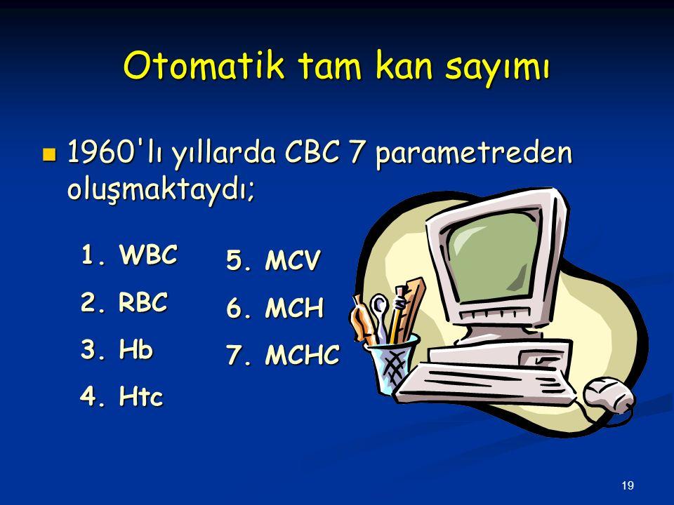 19 Otomatik tam kan sayımı 1960 lı yıllarda CBC 7 parametreden oluşmaktaydı; 1960 lı yıllarda CBC 7 parametreden oluşmaktaydı; 1.