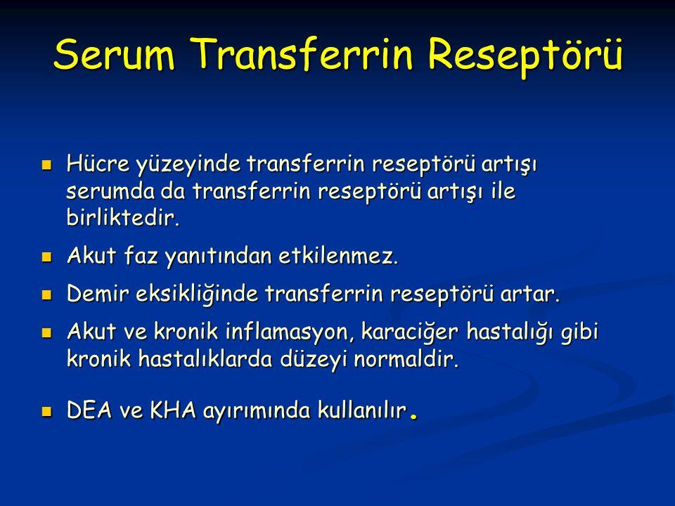 Hücre yüzeyinde transferrin reseptörü artışı serumda da transferrin reseptörü artışı ile birliktedir.