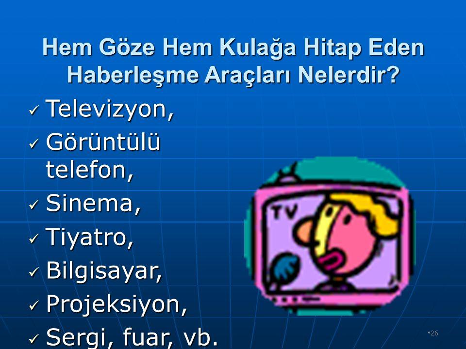 25 Sadece Kulağa Hitap Eden Haberleşme Araçları Nelerdir? Telefon (Görüntüsü z), Telefon (Görüntüsü z), Radyo, Radyo, Telsiz, Telsiz, Anons, vb. Anons