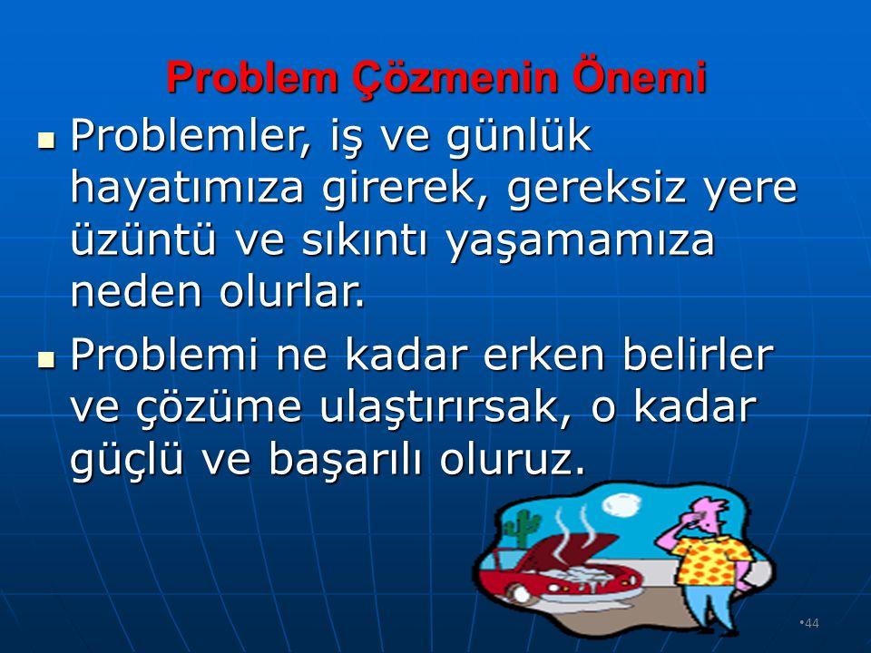 43 Bilimsel Problem Çözme Basamakları Neler Olmalıdır? Problemle karşılaşıldığında, çözmek için; Durum analiz edilir (Problem belirlenir), Durum anali