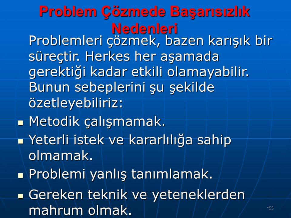 54 Problem Çözme Basmakları Nelerdir? 1.BASAMAK : Problemin tanımlanması. 1.BASAMAK : Problemin tanımlanması. 2.BASAMAK : Verilerin toplanması. 2.BASA