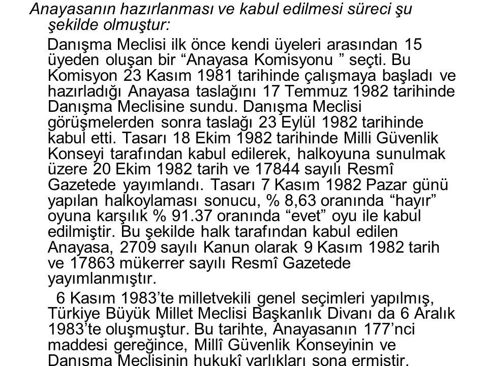 """Anayasanın hazırlanması ve kabul edilmesi süreci şu şekilde olmuştur: Danışma Meclisi ilk önce kendi üyeleri arasından 15 üyeden oluşan bir """"Anayasa K"""