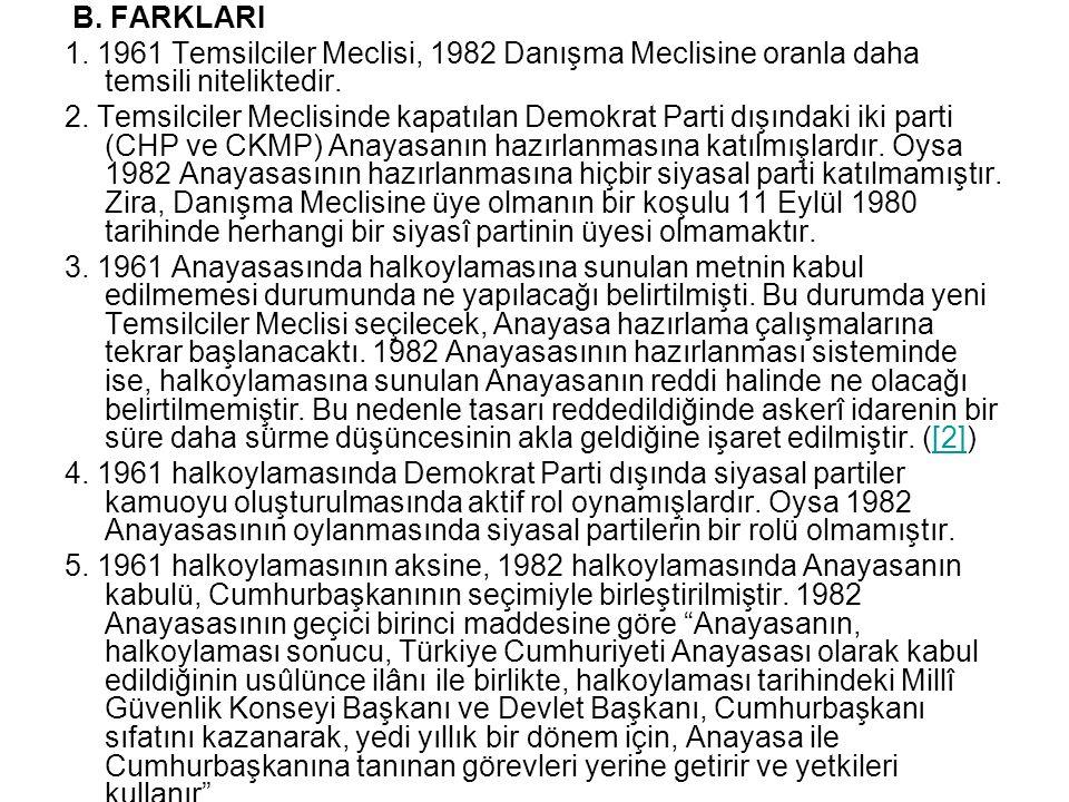 B. FARKLARI 1. 1961 Temsilciler Meclisi, 1982 Danışma Meclisine oranla daha temsili niteliktedir. 2. Temsilciler Meclisinde kapatılan Demokrat Parti d