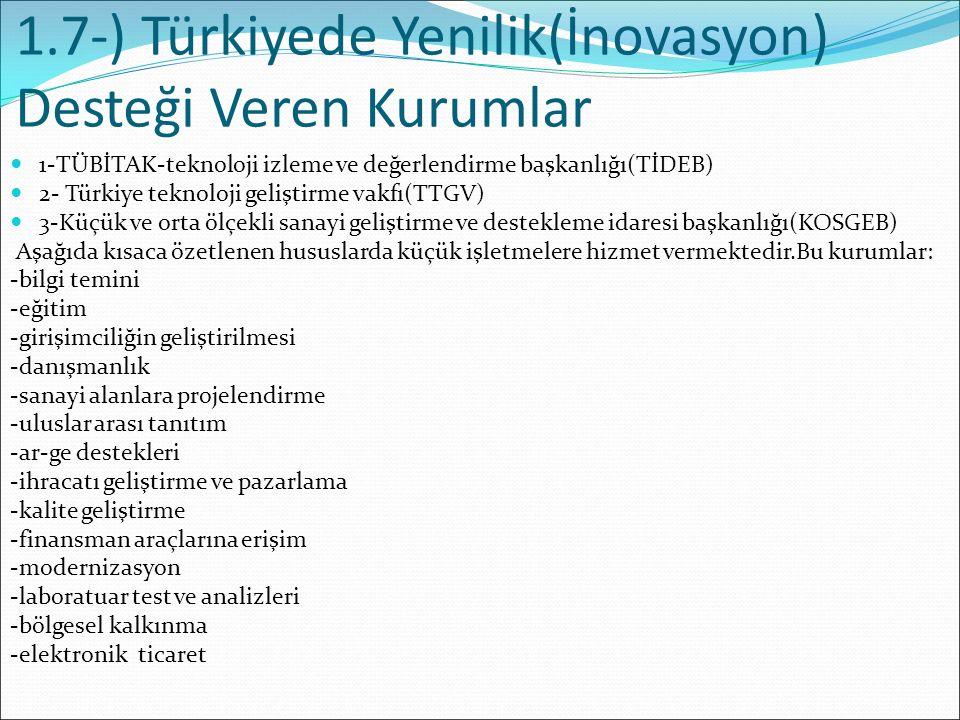 1.7-) Türkiyede Yenilik(İnovasyon) Desteği Veren Kurumlar 1-TÜBİTAK-teknoloji izleme ve değerlendirme başkanlığı(TİDEB) 2- Türkiye teknoloji geliştirm