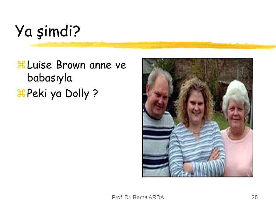 Prof. Dr. Berna ARDA25 Ya şimdi? zLuise Brown anne ve babasıyla zPeki ya Dolly ?