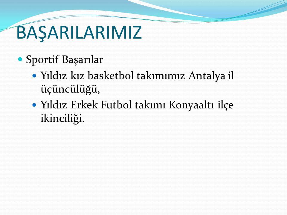 BAŞARILARIMIZ Sportif Başarılar Yıldız kız basketbol takımımız Antalya il üçüncülüğü, Yıldız Erkek Futbol takımı Konyaaltı ilçe ikinciliği.