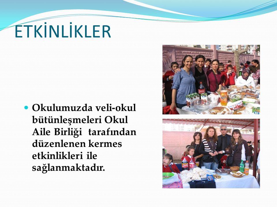 ETKİNLİKLER Okulumuzda veli-okul bütünleşmeleri Okul Aile Birliği tarafından düzenlenen kermes etkinlikleri ile sağlanmaktadır.
