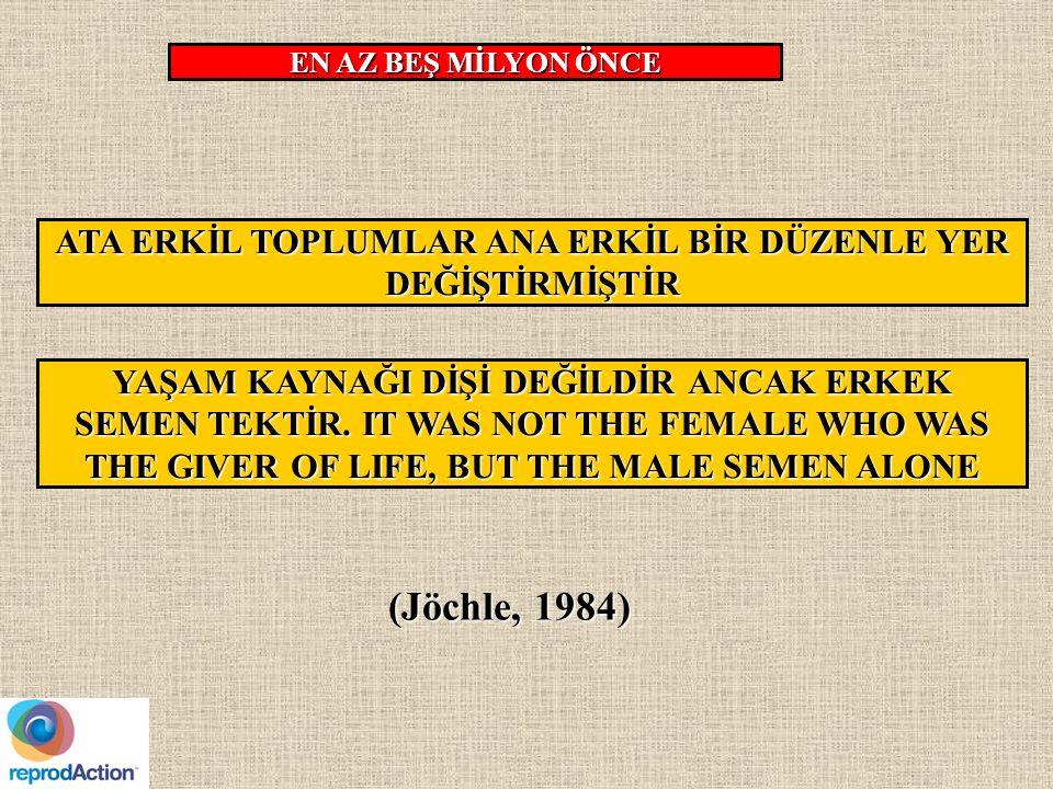 ATA ERKİL TOPLUMLAR ANA ERKİL BİR DÜZENLE YER DEĞİŞTİRMİŞTİR EN AZ BEŞ MİLYON ÖNCE (Jöchle, 1984) YAŞAM KAYNAĞI DİŞİ DEĞİLDİR ANCAK ERKEK SEMEN TEKTİR.
