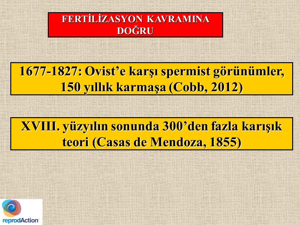 1677-1827: Ovist'e karşı spermist görünümler, 150 yıllık karmaşa (Cobb, 2012) FERTİLİZASYON KAVRAMINA DOĞRU XVIII.