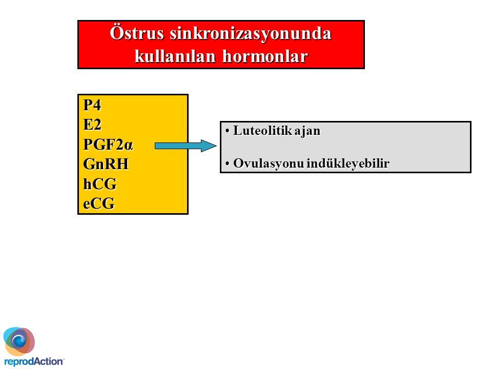 Östrus sinkronizasyonunda kullanılan hormonlar P4E2 PGF2α GnRHhCGeCG Luteolitik ajan Luteolitik ajan Ovulasyonu indükleyebilir Ovulasyonu indükleyebilir