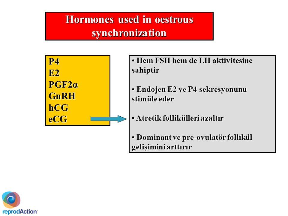 Hormones used in oestrous synchronization P4E2 PGF2α GnRHhCGeCG Hem Hem FSH hem de LH aktivitesine sahiptir Endojen E2 ve P4 sekresyonunu stimüle eder Endojen E2 ve P4 sekresyonunu stimüle eder Atretik follikülleri azaltır Atretik follikülleri azaltır Dominant ve pre-ovulatör follikül gelişimini arttırır Dominant ve pre-ovulatör follikül gelişimini arttırır