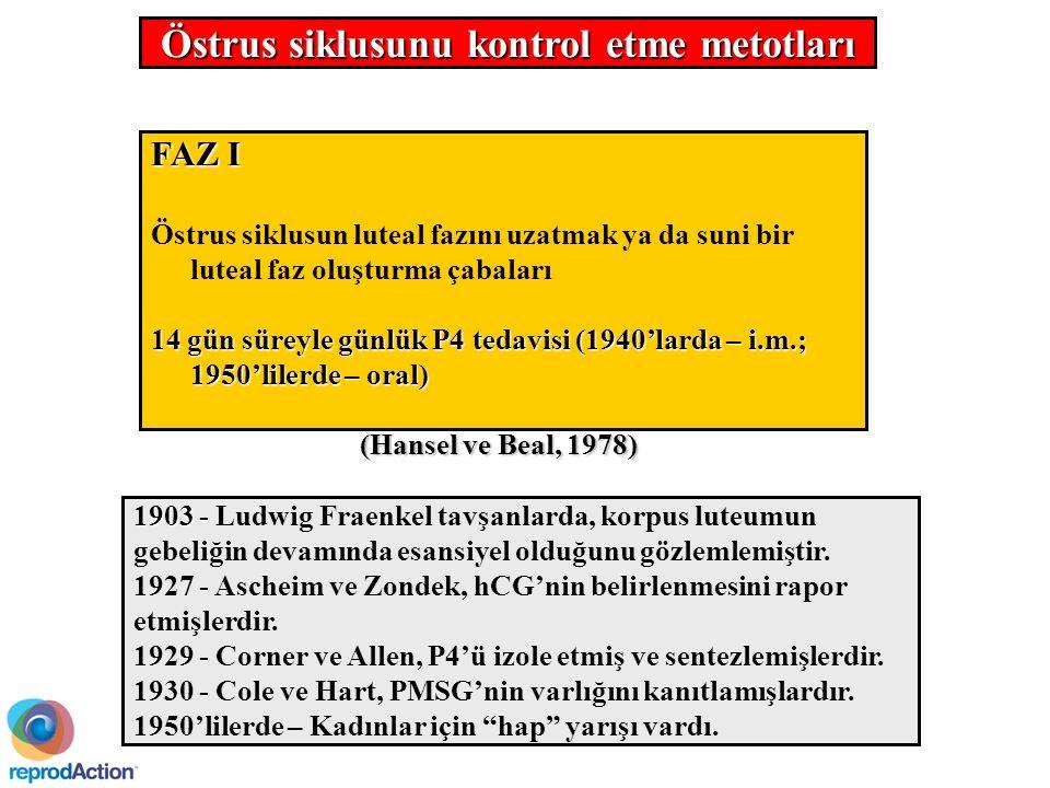 FAZ I Östrus siklusun luteal fazını uzatmak ya da suni bir luteal faz oluşturma çabaları 14 gün süreyle günlük P4 tedavisi (1940'larda – i.m.; 1950'lilerde – oral) (Hansel ve Beal, 1978) 1903 - 1903 - Ludwig Fraenkel tavşanlarda, korpus luteumun gebeliğin devamında esansiyel olduğunu gözlemlemiştir.