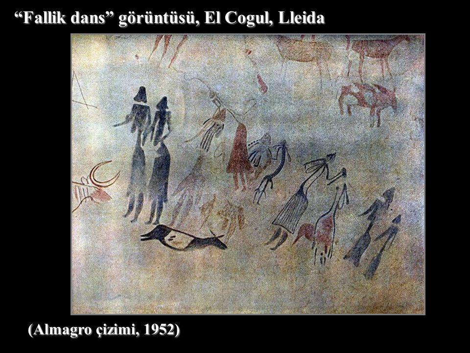 (Almagro çizimi, 1952) Fallik dans görüntüsü, El Cogul, Lleida