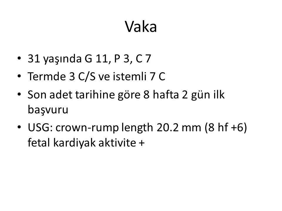 Vaka 31 yaşında G 11, P 3, C 7 Termde 3 C/S ve istemli 7 C Son adet tarihine göre 8 hafta 2 gün ilk başvuru USG: crown-rump length 20.2 mm (8 hf +6) fetal kardiyak aktivite +