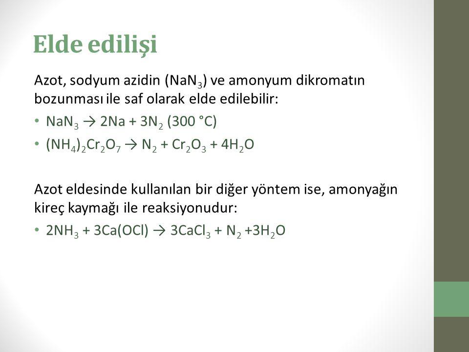 Elde edilişi Azot, sodyum azidin (NaN 3 ) ve amonyum dikromatın bozunması ile saf olarak elde edilebilir: NaN 3 → 2Na + 3N 2 (300 °C) (NH 4 ) 2 Cr 2 O