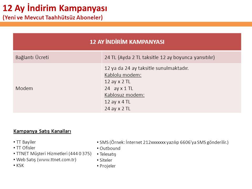 12 AY İNDİRİM KAMPANYASI Bağlantı Ücreti24 TL (Ayda 2 TL taksitle 12 ay boyunca yansıtılır) Modem 12 ya da 24 ay taksitle sunulmaktadır.