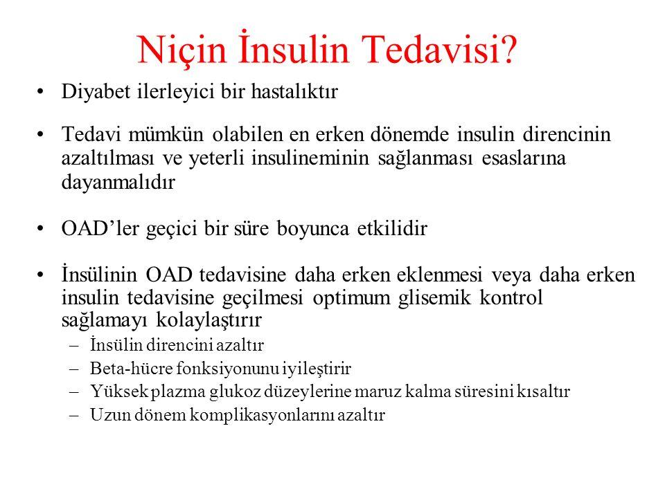 Diyabet ilerleyici bir hastalıktır Tedavi mümkün olabilen en erken dönemde insulin direncinin azaltılması ve yeterli insulineminin sağlanması esasları