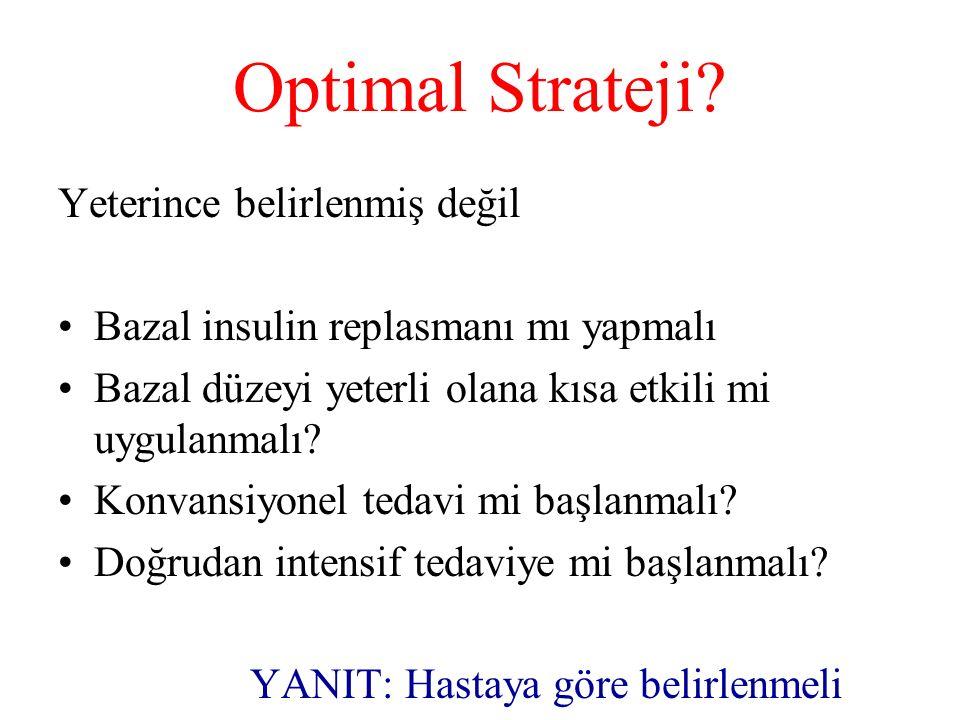 Optimal Strateji? Yeterince belirlenmiş değil Bazal insulin replasmanı mı yapmalı Bazal düzeyi yeterli olana kısa etkili mi uygulanmalı? Konvansiyonel