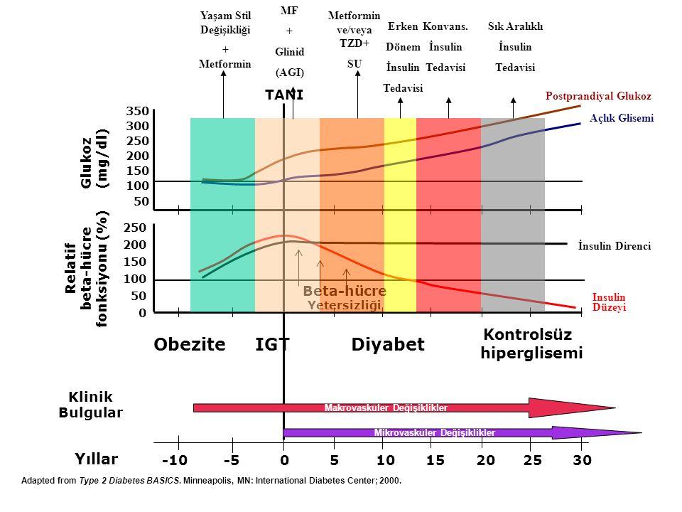 Yıllar -10 -5 0 5 10 15 20 25 30 350 300 250 200 150 100 50 Insulin Düzeyi İnsulin Direnci Beta-hücre Yetersizliği 250 200 150 100 50 0 Relatif beta-h