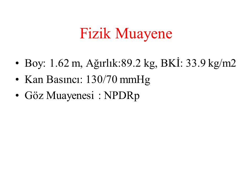 Fizik Muayene Boy: 1.62 m, Ağırlık:89.2 kg, BKİ: 33.9 kg/m2 Kan Basıncı: 130/70 mmHg Göz Muayenesi : NPDRp