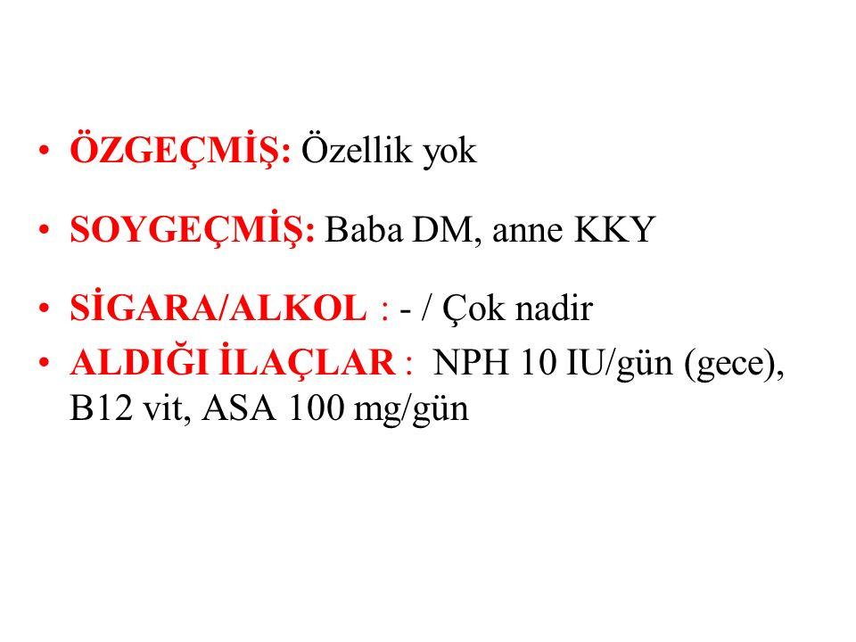 Fizik Muayene Boy: 1.78 m, Ağırlık:92 kg, BKİ: 29.03 kg/m2, 3-4 p HM, santral obezite Kan Basıncı: 150/90 mmHg Göz Muayenesi: Normal.
