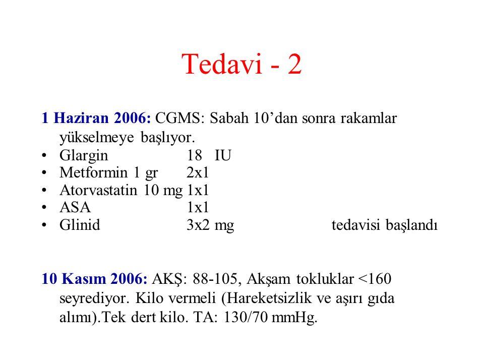 Tedavi - 2 1 Haziran 2006: CGMS: Sabah 10'dan sonra rakamlar yükselmeye başlıyor. Glargin 18 IU Metformin 1 gr2x1 Atorvastatin 10 mg1x1 ASA1x1 Glinid3