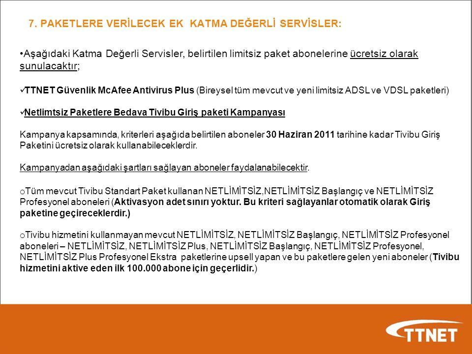 7. PAKETLERE VERİLECEK EK KATMA DEĞERLİ SERVİSLER: Aşağıdaki Katma Değerli Servisler, belirtilen limitsiz paket abonelerine ücretsiz olarak sunulacakt