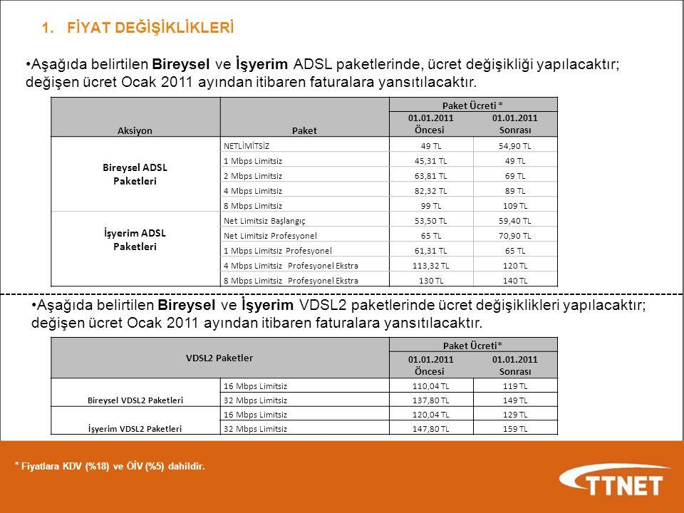 1.FİYAT DEĞİŞİKLİKLERİ * Fiyatlara KDV (%18) ve ÖİV (%5) dahildir. Aşağıda belirtilen Bireysel ve İşyerim ADSL paketlerinde, ücret değişikliği yapılac
